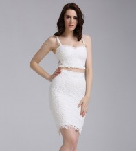 Halter Sleeveless 2 Piece Lace White Party Bandage Dress HZ298-white
