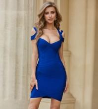 Blue Striped Backless Mini Short Sleeve Square Collar Bandage Dress HZL1328-Blue