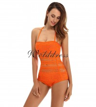 Orange Halter Sleeveless Lace See Through Sexy Bandage Bodysuit HT0084-Orange