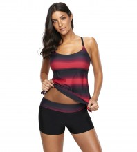 Women's Plus Size Two Pieces Tankini Set Straps Athletic Swimwear Rosy