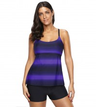 Women's Plus Size Two Pieces Tankini Set Straps Athletic Swimwear Purple