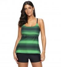 Women's Plus Size Two Pieces Tankini Set Straps Athletic Swimwear Green