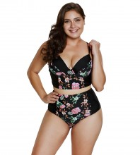 Women's Strappy Hollow Out Floral Swimwear Plus Size High Waist Bikini Sets Floral