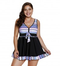 Women's Plus Size Two Pieces Tankini Swimdress Tribal Print Swimwear Light