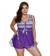 Women's Plus Size Two Pieces Tankini Swimdress Tribal Print Swimwear Orchid