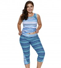 Women's Plus Size Rash Guard Capris Tankini Athletic Swimwear Zigzag