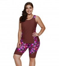 Women's Plus Size Rash Guard Capris Tankini Athletic Swimwear Wine