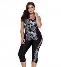 Women's Plus Size Rash Guard Capris Tankini Athletic Swimwear Floral