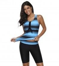 Womens Plus Size Racerback Tankini Set Two Piece Swimsuit with Boyshort Blue