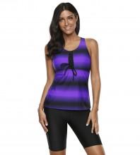 Womens Plus Size Racerback Tankini Set Two Piece Swimsuit with Boyshort Purple