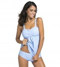 Women's Straps Swimdress Plus Size Two Pieces Tankini Bikini Set Size Light Blue