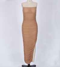 Nude Strap Sleeveless Maxi Sexy Bodycon Dress LY001-Nude