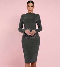 Silver Round Neck Long Sleeve Mini Fashion Bodycon Dress LY007-Silver