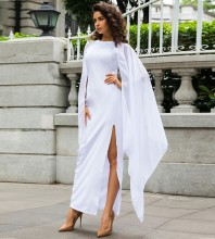 Women's White Flare Chiffon Sleeve High Split Formal Evening Gown Maxi Dress with Cape LY070-White