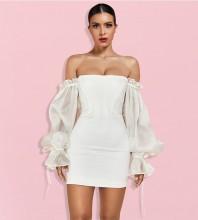 White Tie Frill Mini Long Sleeve Off Shoulder Bodycon Dress MLS19424-White