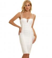 Women's White Sexy Strappy Mini Bodycon Bandage Dress Clubwear PPHJ0369-White