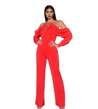 Red Backless Maxi Long Sleeve Halter Bodycon Jumpsuits HI1081-Red