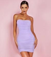 Purple Mesh Mini Sleeveless Strapy Bodycon Dress FSP19067-Purple