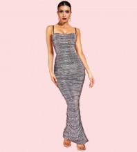 Dark Gray Side Slit Sequins Maxi Sleeveless Strapy Bodycon Dress FSP19113-Dark-Gray