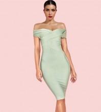Mint Green Mini Mid Sleeve Off Shoulder Bandage Dress PF19122-Mint-Green