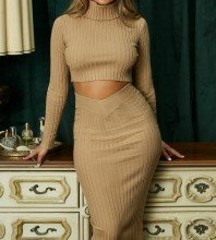 Apricot High Neck Long Sleeve 2 piece Popular Bandage Dress PF0101-Apricot