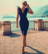 Black V Neck Sleeveless Over Knee Lace Up Evening Bandage Dress PF0104-Black