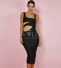 Black Strapy Sleeveless Over Knee Cut Out Plain Sexy Bandage Dress  PF0606-Black