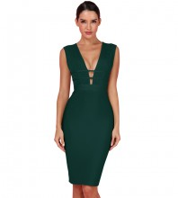 Dark Green Hollow out Striped Midi Sleeveless V Neck Bandage Dress PF0803-Dark-Green