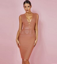 Light Brown V Neck Sleeveless Knee Length Waist Stripped Back Zipped Cheap Bandage Dress PF0803-Light-Brown