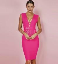 Rose V Neck Sleeveless Knee Length Waist Stripped Back Zipped Fashion Bandage Dress PF0803-Rose