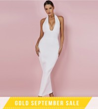 White Halter Sleeveless Maxi Backless Fashion Bandage Dress PF0901-White