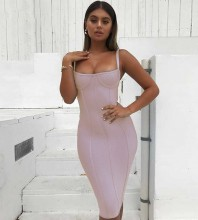 Nude Over Knee Sleeveless Strapy Bandage Dress PF0902-Nude