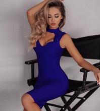Blue Lace Cut Out Midi Sleeveless High Neck Bandage Dress PF091403-Blue