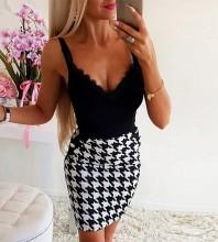 Black Lace Plaid Mini Sleeveless Strappy Bandage Dress PF091409-Black