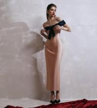 Nude Backless Bowknot Maxi Short Sleeve Off Shoulder Bandage Dress PF091802-Nude