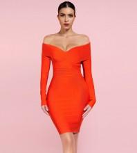 Orange Distinctive Striped Midi Long Sleeve Off Shoulder Bandage Dress PF091805-Orange