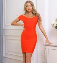 Orange Backless Striped Mini Short Sleeve Off Shoulder Bandage Dress PF091902-Orange
