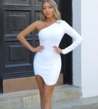 White Cut Out Asymmetrical Mini Long Sleeve One Shoulder Bandage Dress PF091907-White