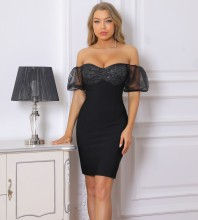 Black Backless Mesh Mini Mid Sleeve Off Shoulder Bandage Dress PF091908-Black