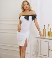 White Slit Bowknot Mini Short Sleeve Off Shoulder Bandage Dress PF092001-White