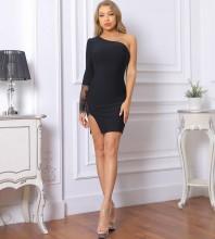 Black Lace Asymmetrical Mini Long Sleeve One Shoulder Bandage Dress PF092002-Black