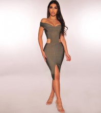 Army Green Off Shoulder Sleeveless Mini Cut Out Fashion Bandage Dress PF1105-Army-Green