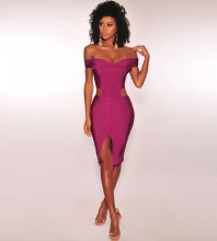 Rose Red Off Shoulder Sleeveless Mini Cut Out Fashion Bandage Dress PF1105-Rose-Red