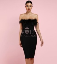 Black Strapless Sleeveless Mini Fur Party Bandage Dress PF1108-Black