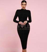 Black Round Neck Long Sleeve Knee Length Ribbed Lace Up Party Bandage Dress PF1201-Black
