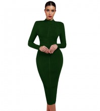 Dark Green Striped Over Knee Long Sleeve High Neck Bandage Dress PF1201-Dark-Green