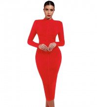 Red Round Neck Long Sleeve One Piece Simple Long Fashion Bandage Dress PF1201-Red