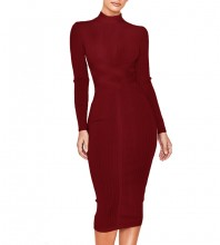 Wine Round Neck Long Sleeve Length Ribbed Lace Up Party Bandage Dress PF1201-Wine