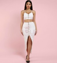 White Strap Sleeveless 2 Piece Beaded Split Sexy Bandage Dress PF1203-White