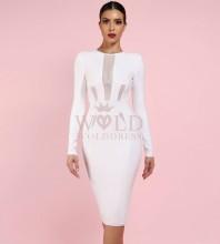 White Round Neck Long Sleeve Mini Mesh Fashion Bandage Dress PF1204-White